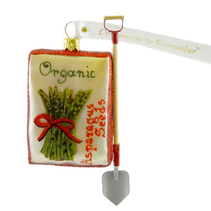 Ornaments To Remember Asparagus Seed Packet Glass Ornament
