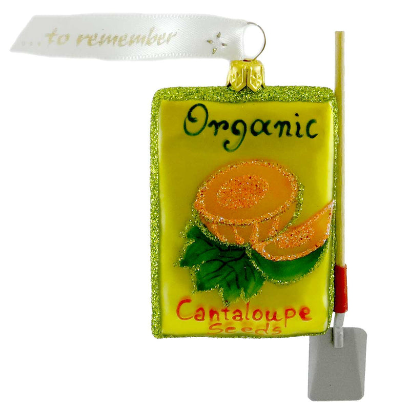 Ornaments To Remember Cantaloupe Seed Packet Glass Ornament