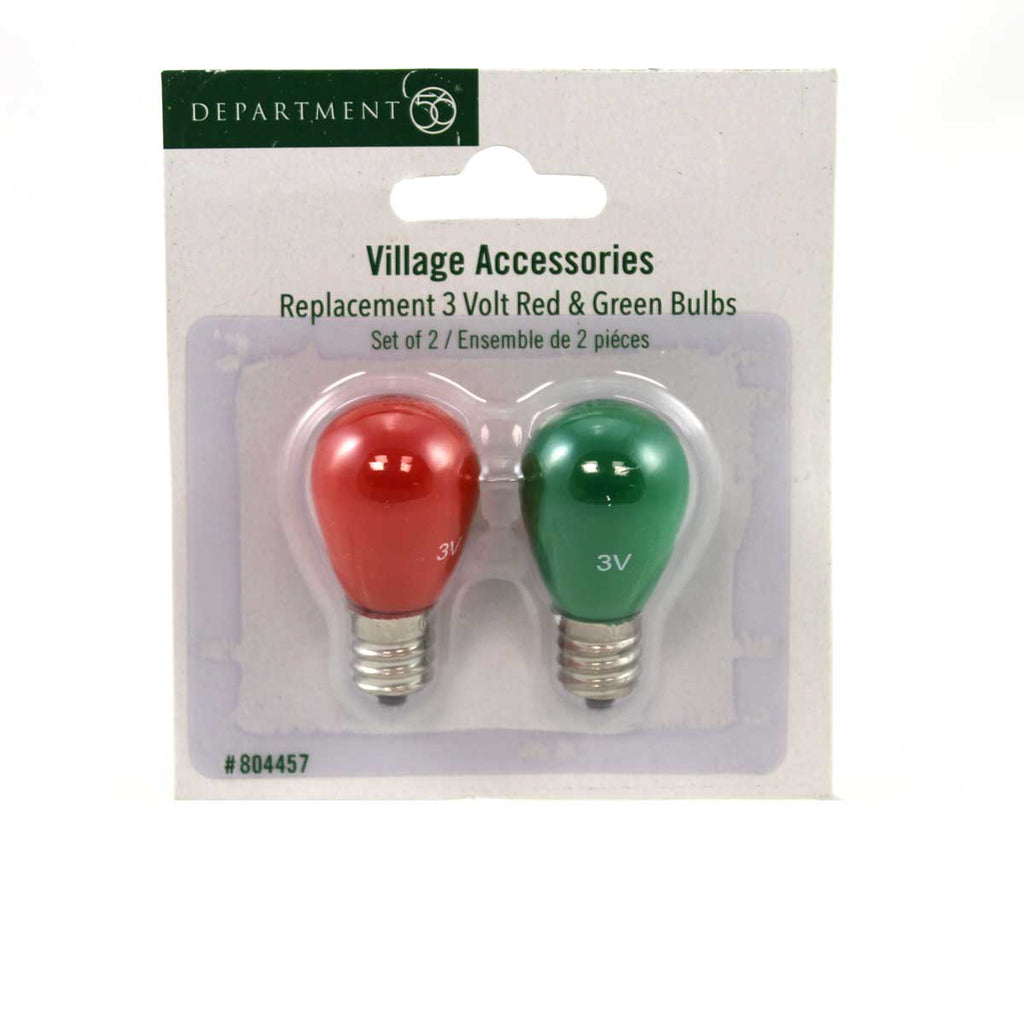 Dept 56 Accessories 3 Volt Red & Green Bulbs Village Replacement Bulbs