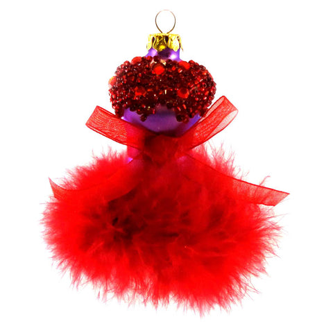 Cherry Designs RED MANNEQUIN Blown Glass Christmas Ornament 1418 7945