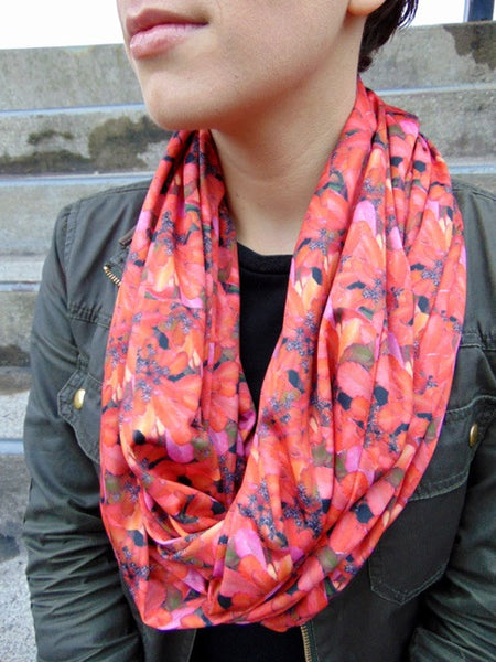 Infinity Scarf - 'Firey Floral' Print