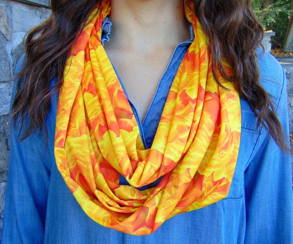 Infinity Scarf - 'Warm Roses' Print