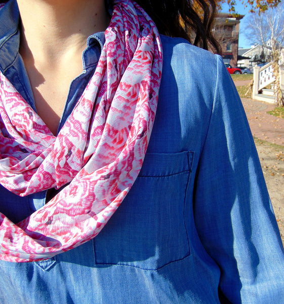 Infinity Scarf - 'Deco Rose' Print