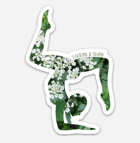 Yoga Flower Girl Sticker - White Floral