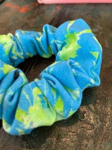 Bright Blue & Green Floral Scrunchie