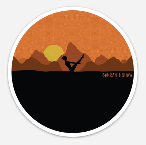 Yoga Girl & Mountain Sticker
