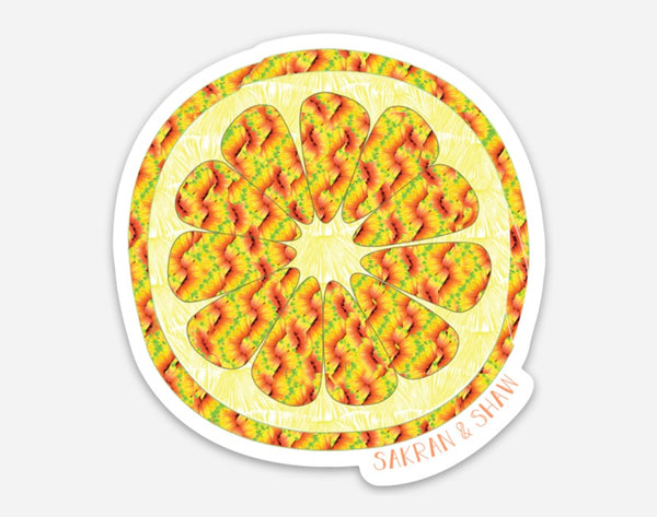 Grapefruit Sticker in Multi Zig Zag
