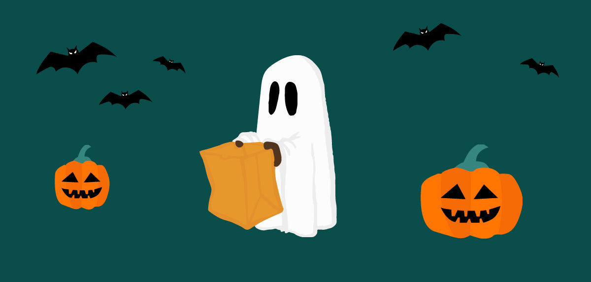 | Cartoon of a ghost carrying a bag of Halloween candy