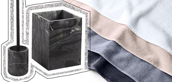 Black Marble Toilet Brush and Wastebasket from CB2 & Super-Plush Towels from Brooklinen
