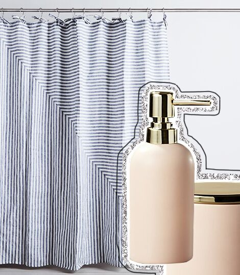 Linen Bath Curtain from Food52 & Bath Accessories from CB2 | ALIGN : LEFT