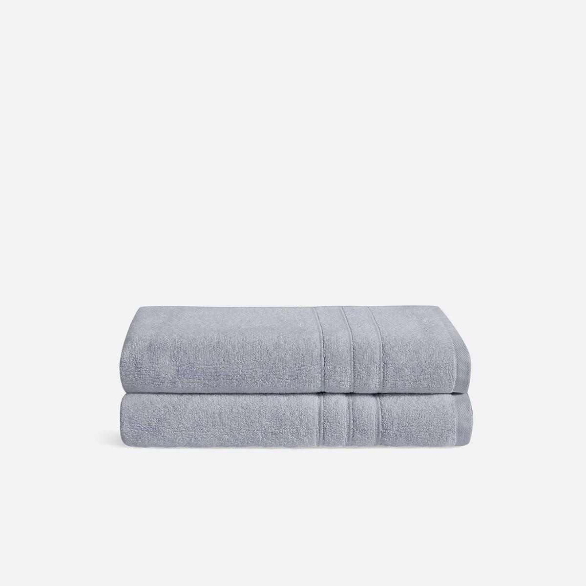 Stack of Mid-Plush Bath Towels in Smoke