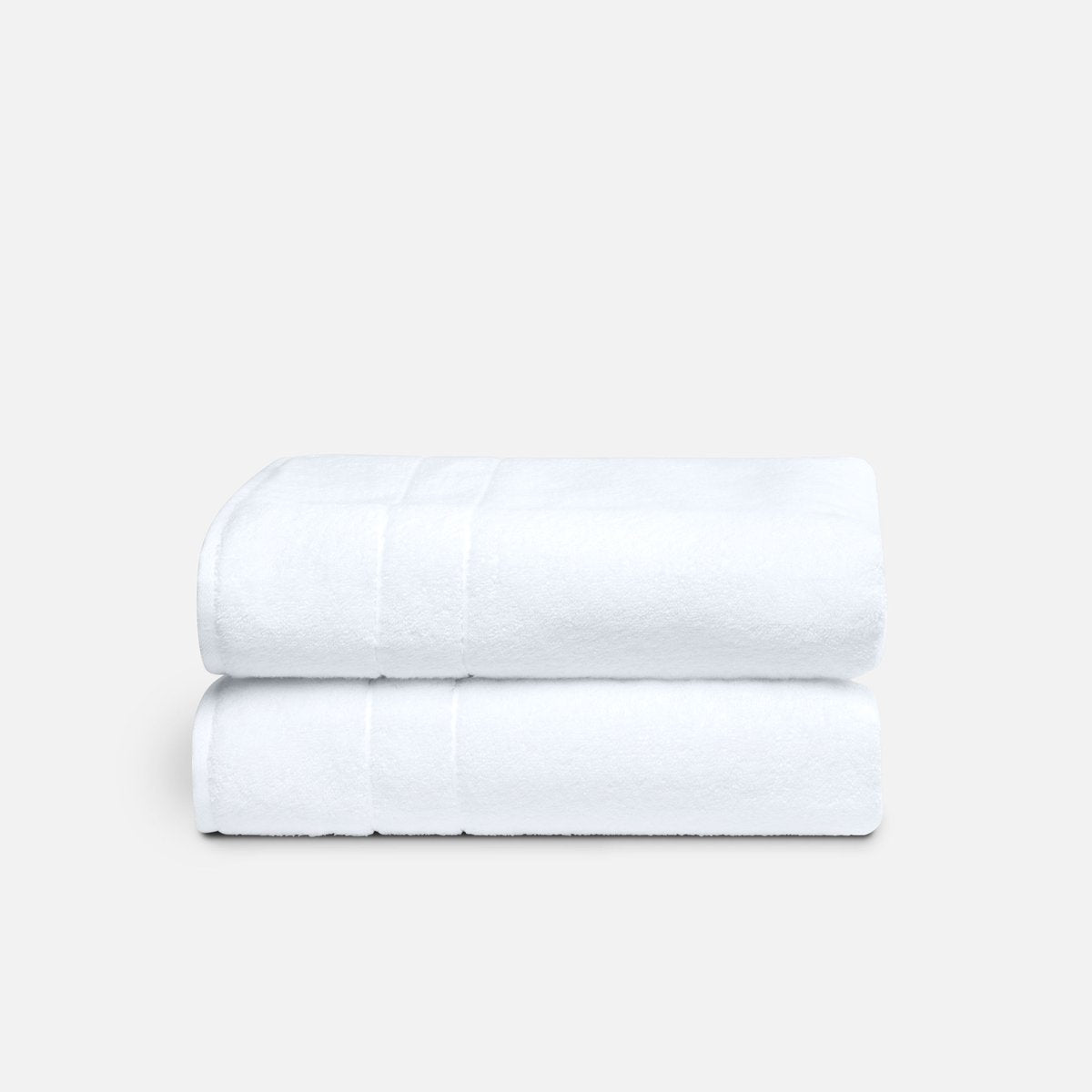 Stack of Super-Plush Bath Towels in White