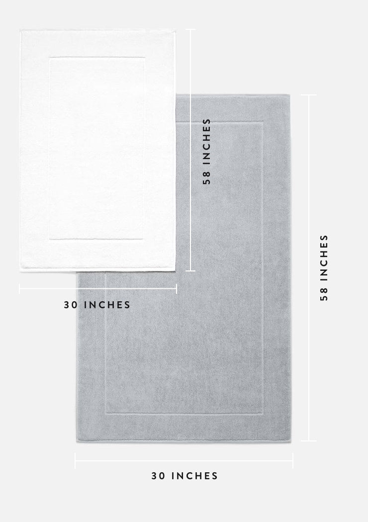 Bath mat measures 30 inches wide by 58 inches long.