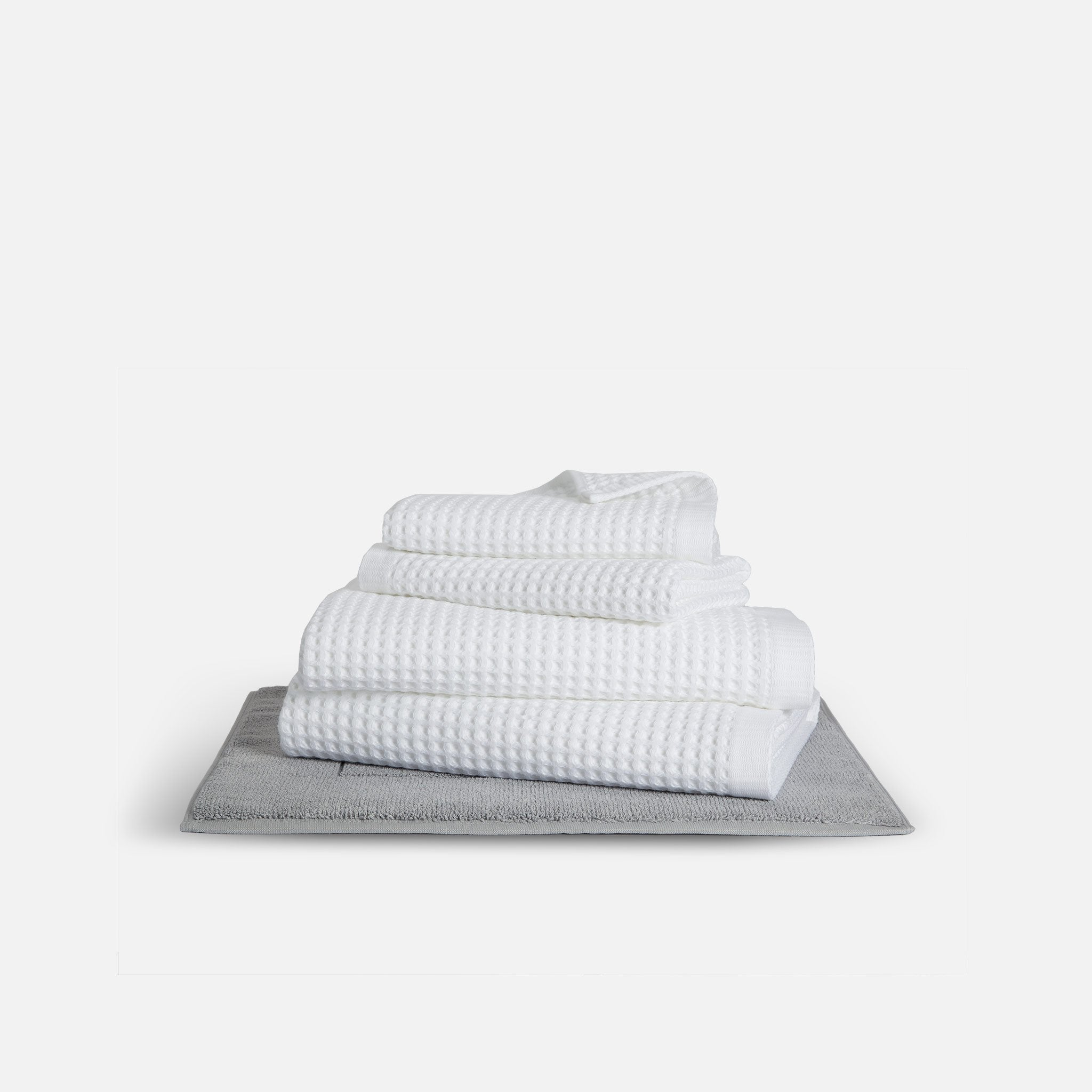 Stack of Waffle Towel Bath Sheet Bundle