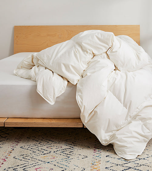 Our Down Comforters are sustainably made from the soft, fluffy clusters of duck and geese to provide warmth, and insulation.