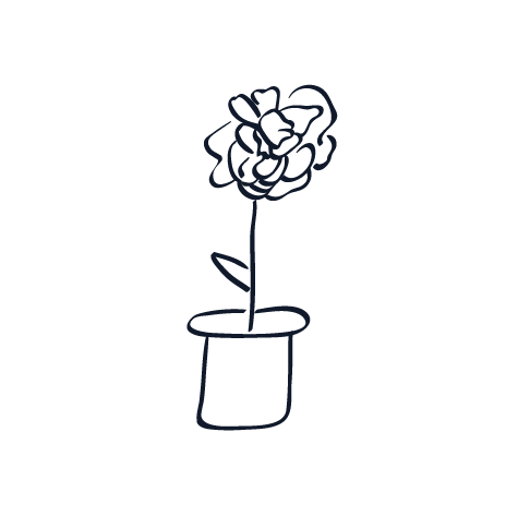 A black and white sketch of a potted flower in a loose, stream-of-conscious style.