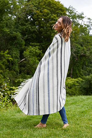 Lambswool Throw in Stripe | ALIGN : LEFT