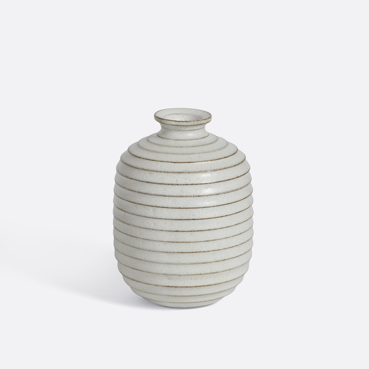 Mini Bud Vase / Ribbed White