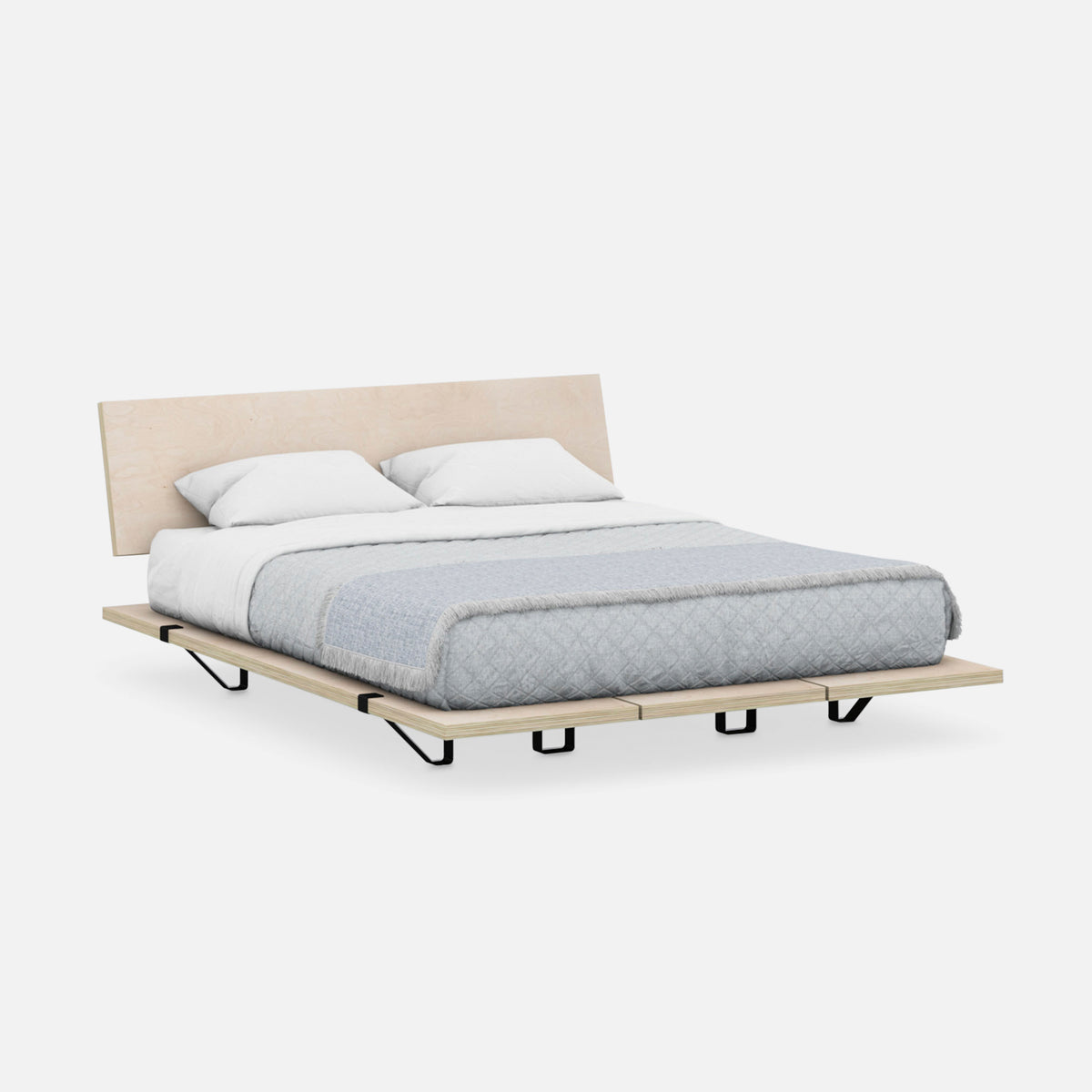 The Floyd Platform Bed with Headboard / Birch and Black