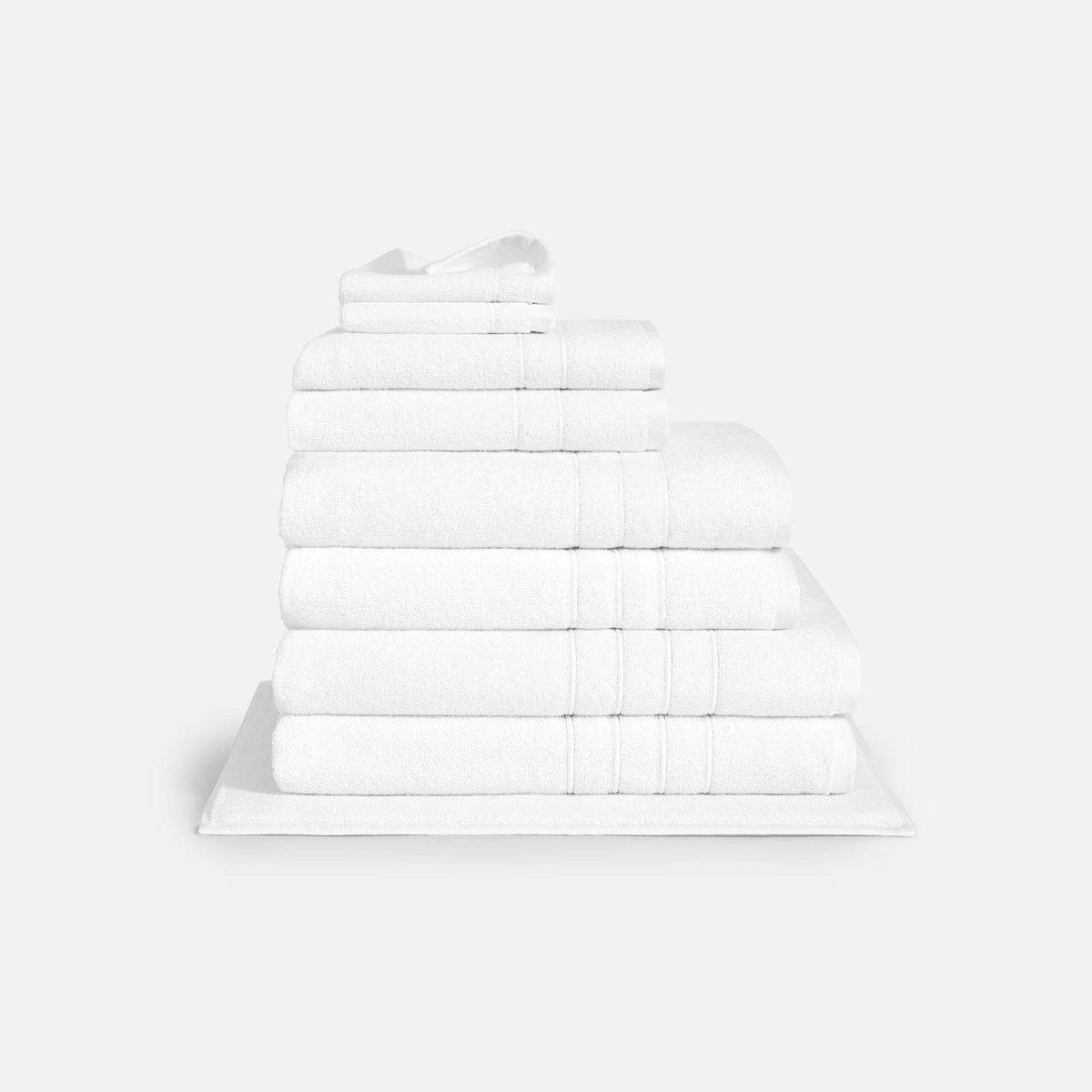 Mid Plush Complete Towel Set / White