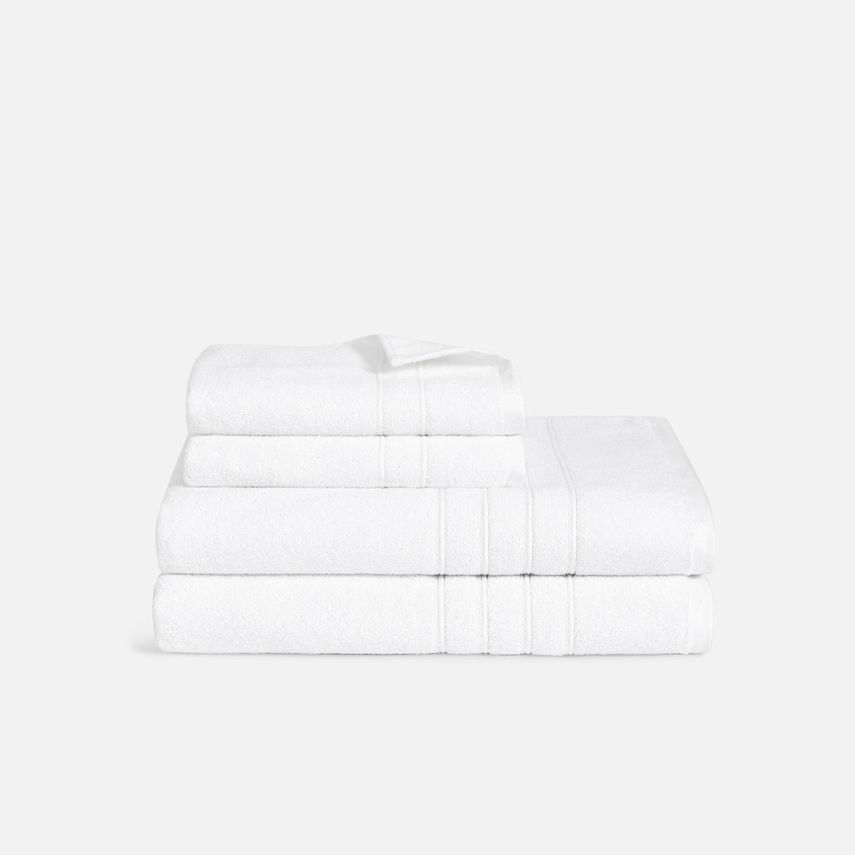 Mid Plush Bath Sheet and Hand Towel Set / White
