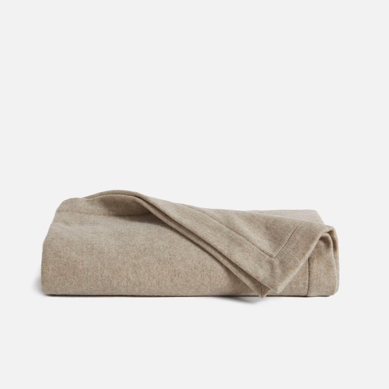 Cashmere and Lambswool Throw in Camel