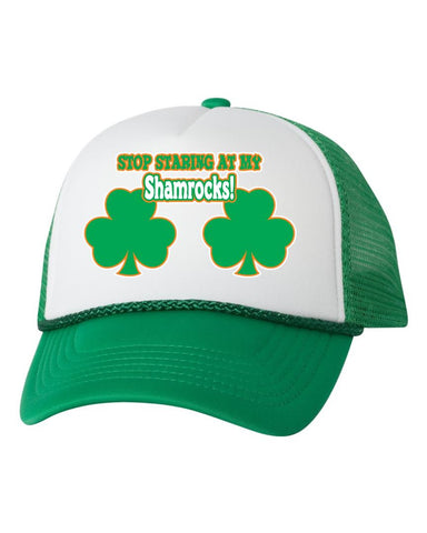 Stop stearing at my shamrocks dual color trucker hat - ALLNTRENDSHOP