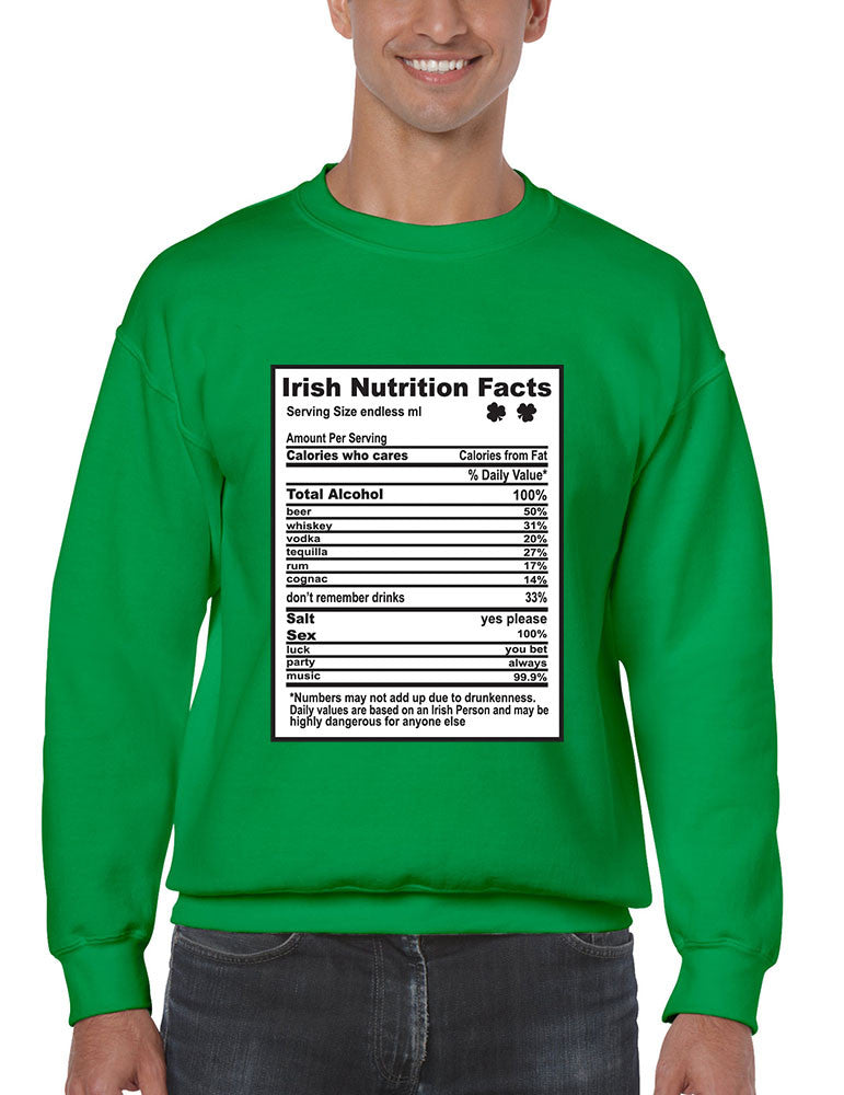 Irish nutrition facts St patrick men sweatshirt - ALLNTRENDSHOP - 1