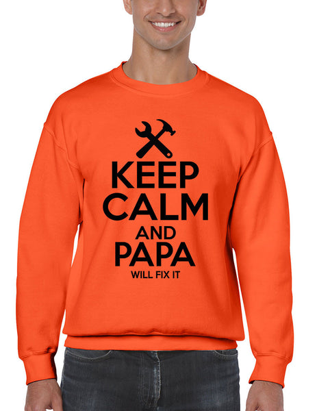 Men's Sweatshirt Keep Calm And Papa Will Fix It Papa Gift Idea Top - ALLNTRENDSHOP - 5