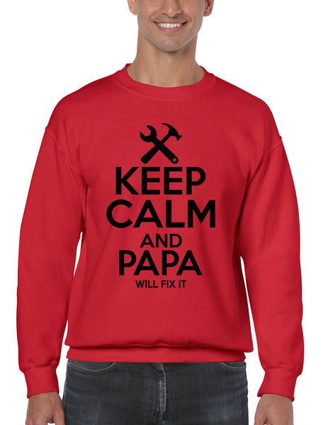 Men's Sweatshirt Keep Calm And Papa Will Fix It Papa Gift Idea Top - ALLNTRENDSHOP - 4