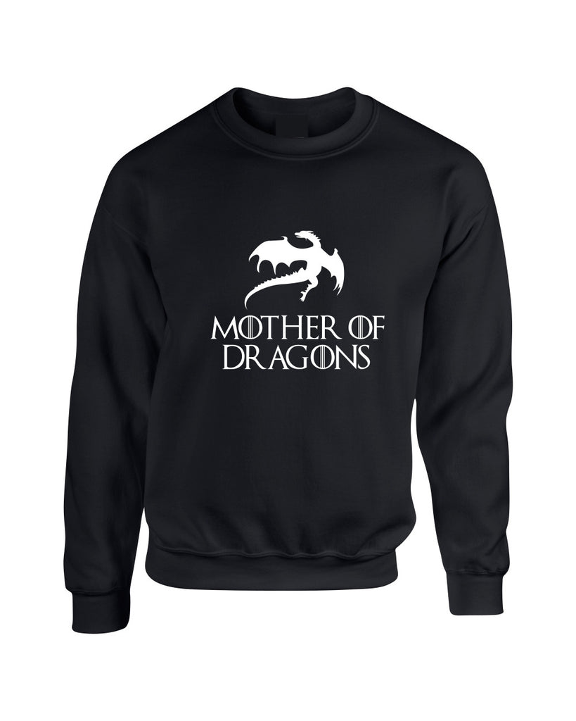 Adult Crewneck Mother Of Dragons White Print Cool Top - ALLNTRENDSHOP
