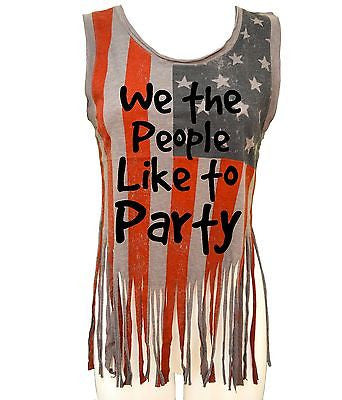 We The People Like To Party Us Flag Women's Shredded Muscle - ALLNTRENDSHOP - 3