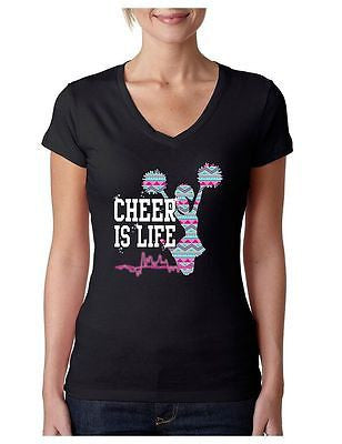 Cheer Is Life Azteck Women's Sporty V Shirt Love Cheer - ALLNTRENDSHOP