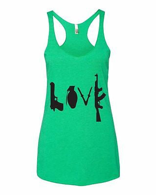 Love Guns Women's Triblend Racerback Tanktop - ALLNTRENDSHOP - 5