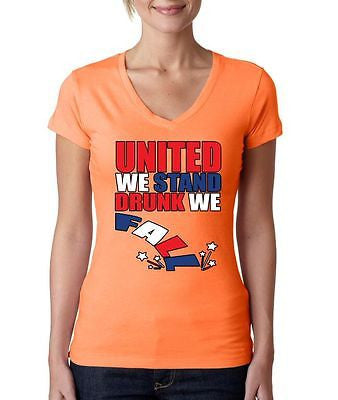 United We Stand Drunk We Fall Women's Sporty V shirt - ALLNTRENDSHOP - 4