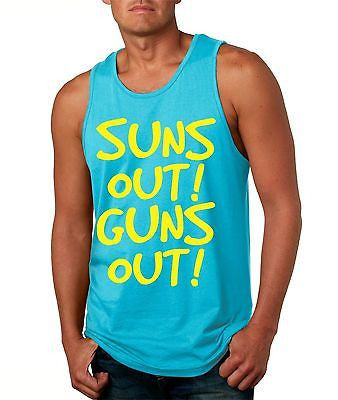 Suns Out! Guns Out ! Yellow Men's Jersy Tanktop - ALLNTRENDSHOP - 1