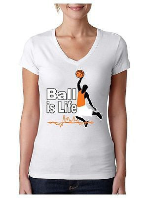 Basketball Ball Is Life Women's Sporty V shirt - ALLNTRENDSHOP