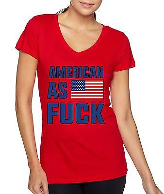American As F**k 4th Of July Women's Sporty V Shirt - ALLNTRENDSHOP