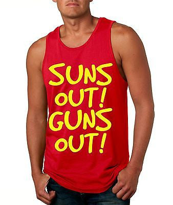 Suns Out! Guns Out ! Yellow Men's Jersy Tanktop - ALLNTRENDSHOP - 4