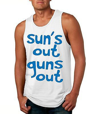 Suns Out! Guns Out ! Blue Men's Jersy Tanktop - ALLNTRENDSHOP - 1