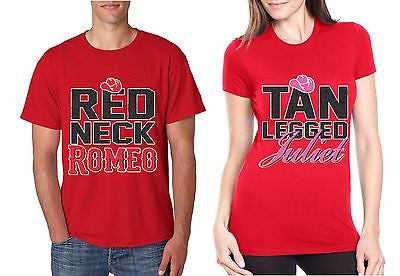 Red Neck Romeo Tan Legged Juliet Couple Shirt valentine day - ALLNTRENDSHOP - 1
