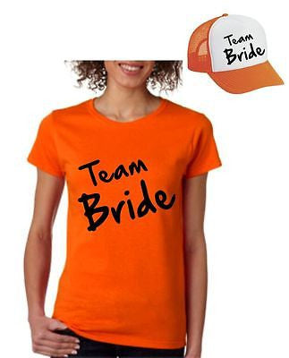 Bride Team Set Of 2  Hats & Women's Tee Shirts Bachelorette party Wedding - ALLNTRENDSHOP