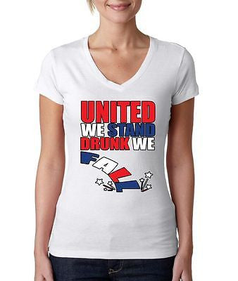 United We Stand Drunk We Fall Women's Sporty V shirt - ALLNTRENDSHOP - 1