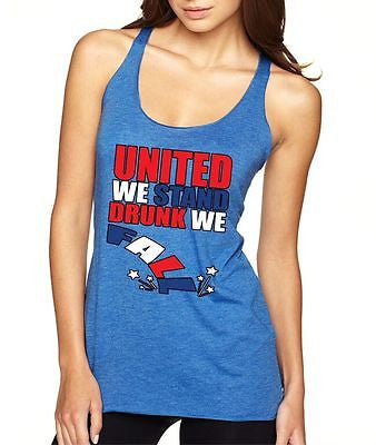 United We Stand Drunk We Fall 4th of July Women's Triblend Tanktop - ALLNTRENDSHOP - 2