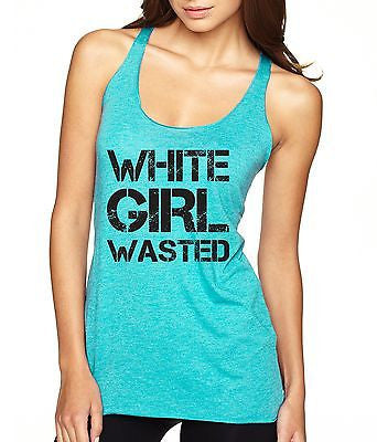 White Girl Wasted Black Print Women's Triblend Tanktop - ALLNTRENDSHOP - 4