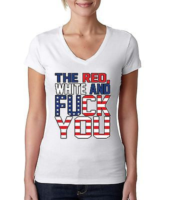 The Red White And F**k You Women's Sporty V shirt - ALLNTRENDSHOP - 3