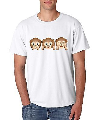 3 Monkey Emoji Men's T-Shirt - ALLNTRENDSHOP