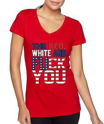 The Red White And F**k You Women's Sporty V shirt - ALLNTRENDSHOP - 2