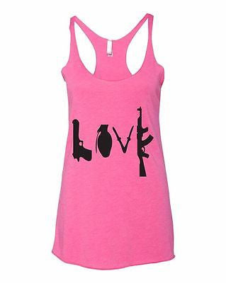 Love Guns Women's Triblend Racerback Tanktop - ALLNTRENDSHOP - 2