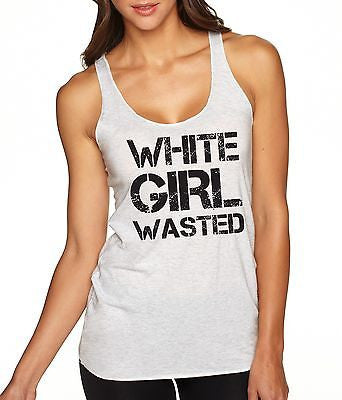 White Girl Wasted Black Print Women's Triblend Tanktop - ALLNTRENDSHOP - 1